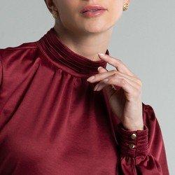 blusa bordo gola punho pregas lady