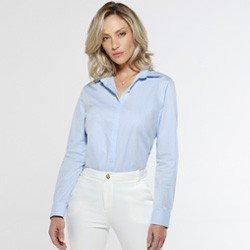 camisa abotoadura azul deborah look completo