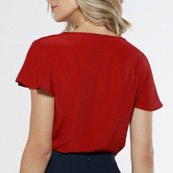 blusa feminina manga gode vermelha viola modelagem