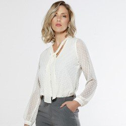 blusa feminina com gola laco off white eugine look total