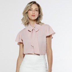 blusa rose com gola laco sunny look toltal