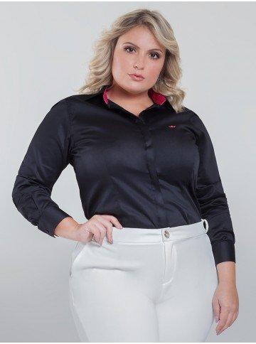 camisa social preta com poa lana frente