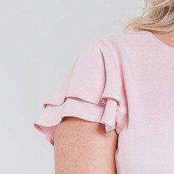 blusa com babados rose veridiana manga