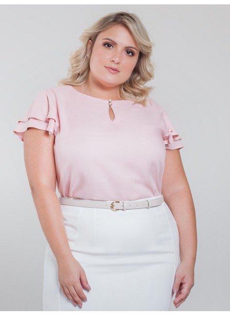 blusa com babados rose veridiana frente