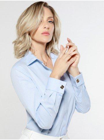 camisa social feminina azul abotoadura