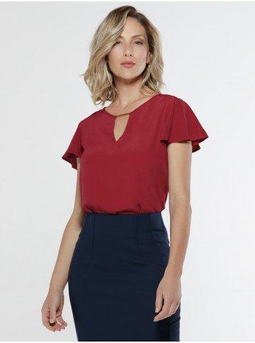 blusa vermelha evase principessa viola frente