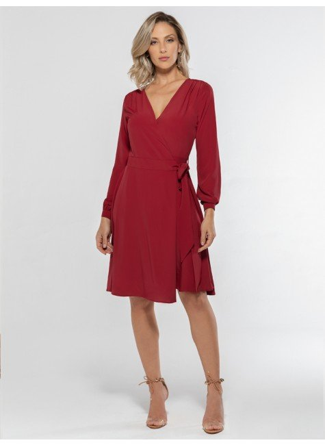 vestido transpassado vermelho nikki look