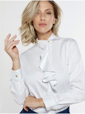 camisa branca babado frontal donata frente