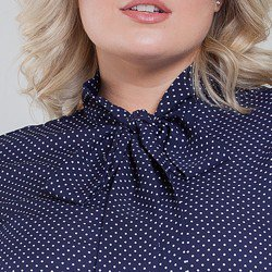 camisa de poa gola laco plus size maria lenidja detalhes