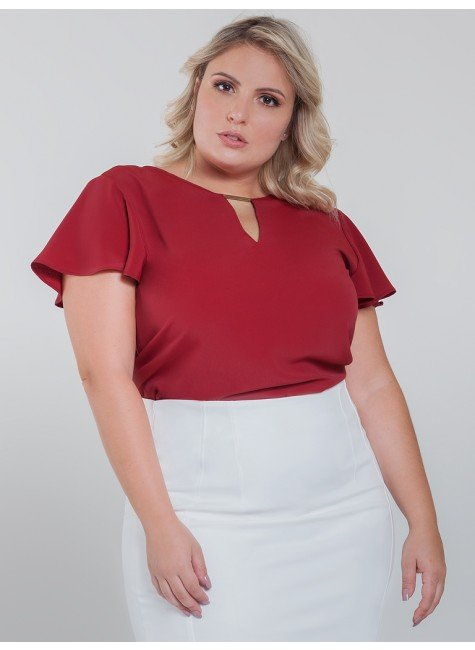 blusa manga gode vermelha plus size viola look