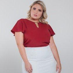 blusa manga gode vermelha plus size viola detalhe