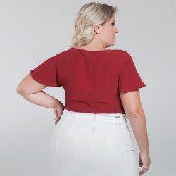 blusa manga gode vermelha plus size viola modelagem detalhe
