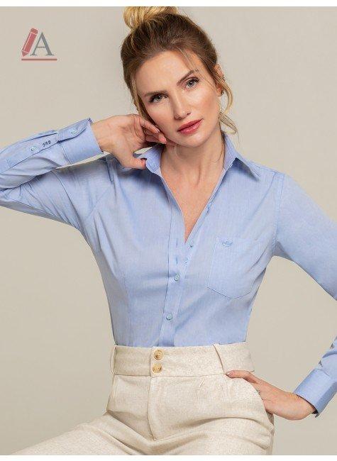 camisa social azul feminina personalizada isla frente