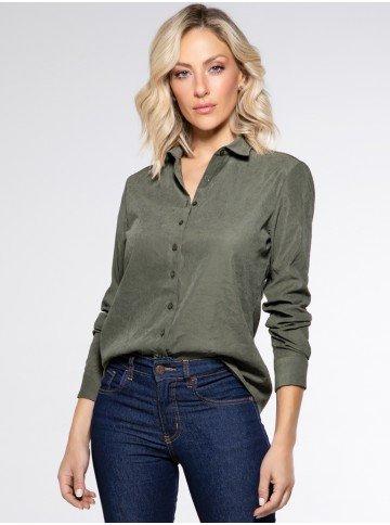 camisa cupro verde militar rochele