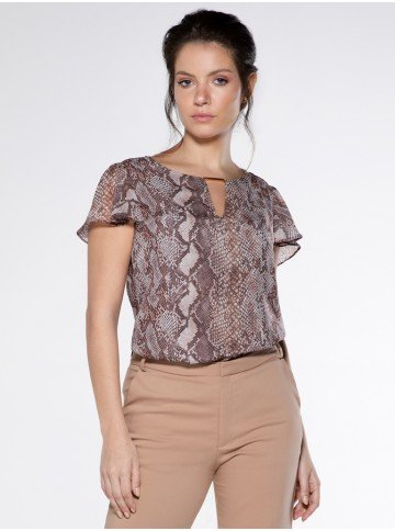 blusa animal print cobra manga gode aneda look