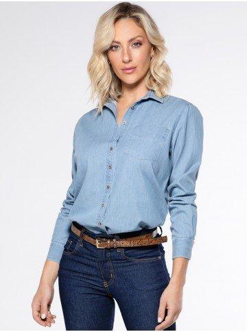 camisa feminina jeans clara principessa raquely