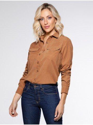 camisa cupro caramelo licianna frente